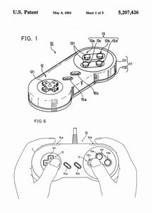 super nintendo NES controller patent print, super nitnendo controller retro gaming poster in the style white