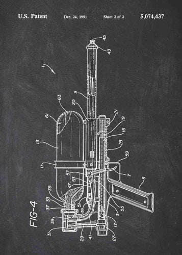 super soaker patent print, super soaker poster in the style chalkboard