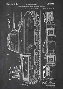 Tank patent print, tank poster shown in the style chalkboard