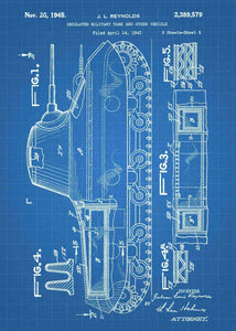 Tank patent print, tank poster shown in the style blueprint