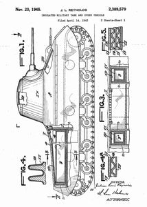 Tank patent print, tank poster shown in the style white