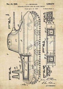 Tank patent print, tank poster shown in the style vintage