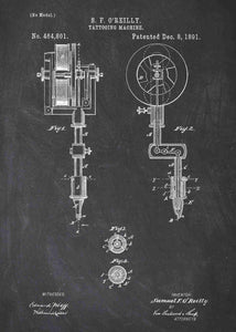tattoo artists gun patent print, tattoo gun poster for tattoo shop decor in the style chalkboard