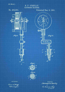 tattoo artists gun patent print, tattoo gun poster for tattoo shop decor in the style blueprint