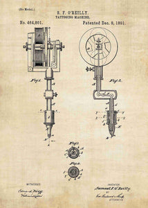 tattoo artists gun patent print, tattoo gun poster for tattoo shop decor in the style vintage