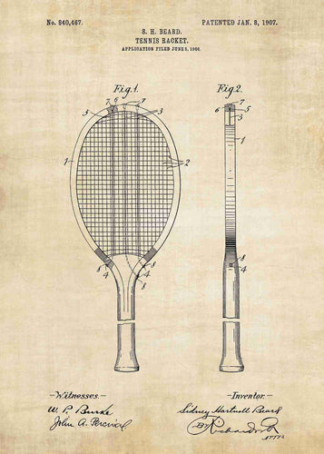 tennis racket patent print, tennis poste rin the style of vintage