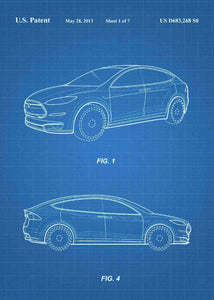 tesla car patent print, tesla poster in the style blueprint