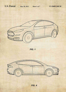 tesla car patent print, tesla poster in the style vintage