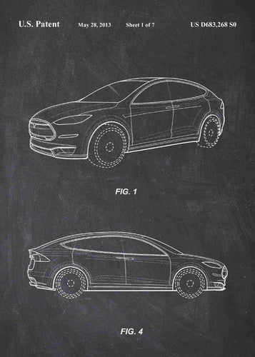 tesla car patent print, tesla poster in the style chalkboard