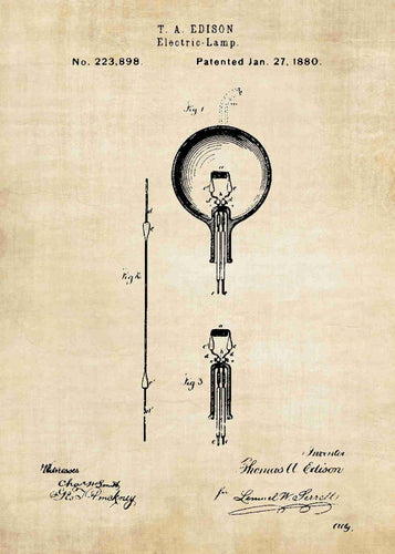 thomas edison light bulb patent print, thomas edison poster in the style vintage