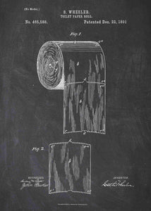 toilet paper patent print, bathroom poster shown in the style chalkboard