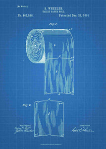 toilet paper patent print, bathroom poster shown in the style blueprint