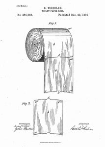 toilet paper patent print, bathroom poster shown in the style white