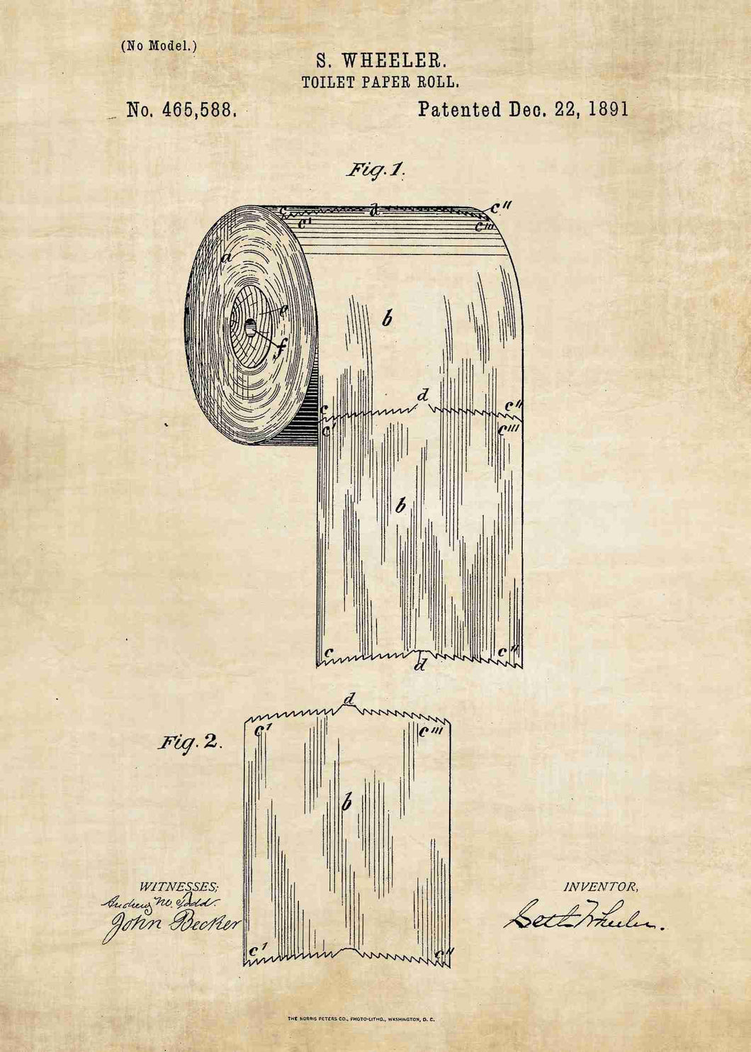toilet paper patent print, bathroom poster shown in the style vintage