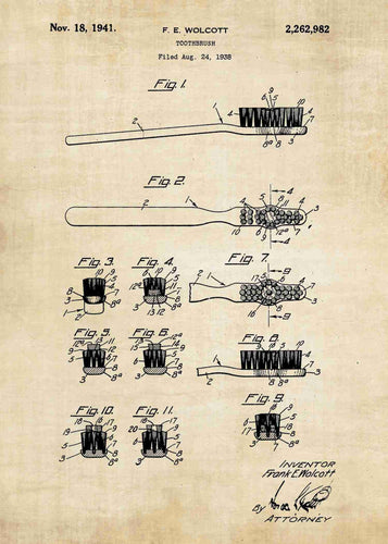 toothbrush patent print, bathroom poster shown in the style vintage