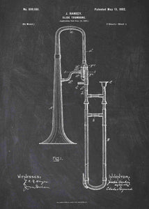 trombone patent print, trombone poster shown in the style chalkboard