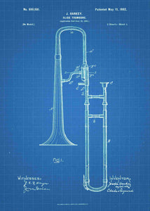 trombone patent print, trombone poster shown in the style blueprint