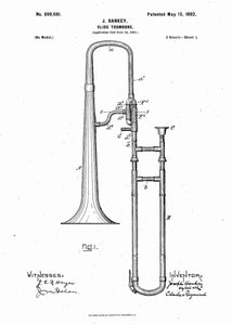 trombone patent print, trombone poster shown in the style white