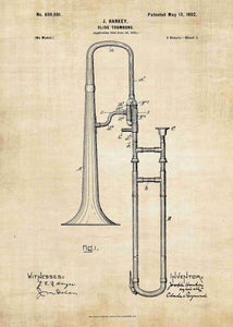 trombone patent print, trombone poster shown in the style vintage