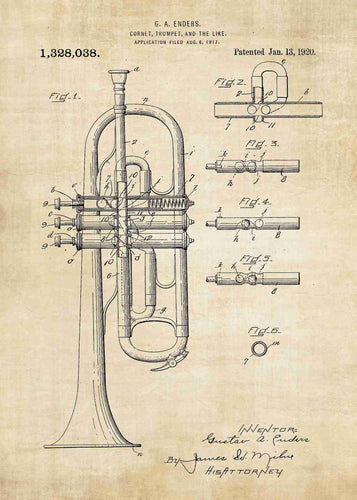 trumpet patent print, trumpet poster shown in the style vintage