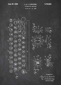 typewriter patent print, typewriter poster shown in the style chalkboard