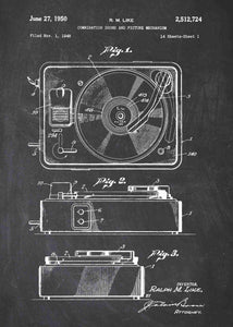 vinyl record player patent print, vinyl record player in the style chalkboard