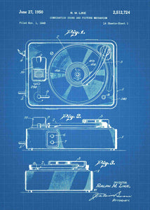 vinyl record player patent print, vinyl record player in the style blueprint