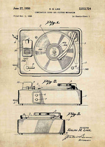 vinyl record player patent print, vinyl record player in the style vintage