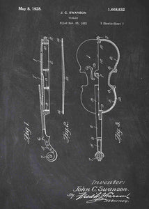 violin patent print, violin poster shown in the style chalkboard