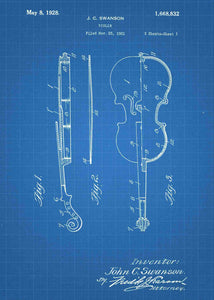 violin patent print, violin poster shown in the style blueprint