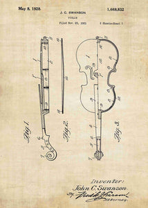 violin patent print, violin poster shown in the style vintage