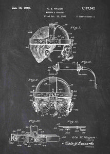 welders mask patent print, welders mask poster shown in the style chalkboard