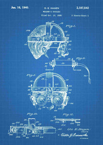 welders mask patent print, welders mask poster shown in the style blueprint