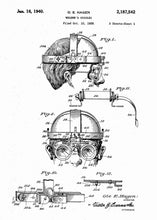 welders mask patent print, welders mask poster shown in the style white