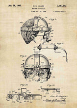 welders mask patent print, welders mask poster shown in the style vintage