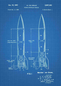Wernher Von Braun Rocket Propelled Missile patent print, Wernher Von Braun Rocket Propelled Missile poster in the style blueprint