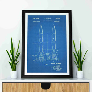 Wernher Von Braun Rocket Propelled Missile patent print, Wernher Von Braun Rocket Propelled Missile poster in the style blueprint mocked up in a frame
