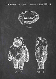 Original wicket ewok patent from the first trilogy of the star wars series. This star wars poster is in the style chalkboard