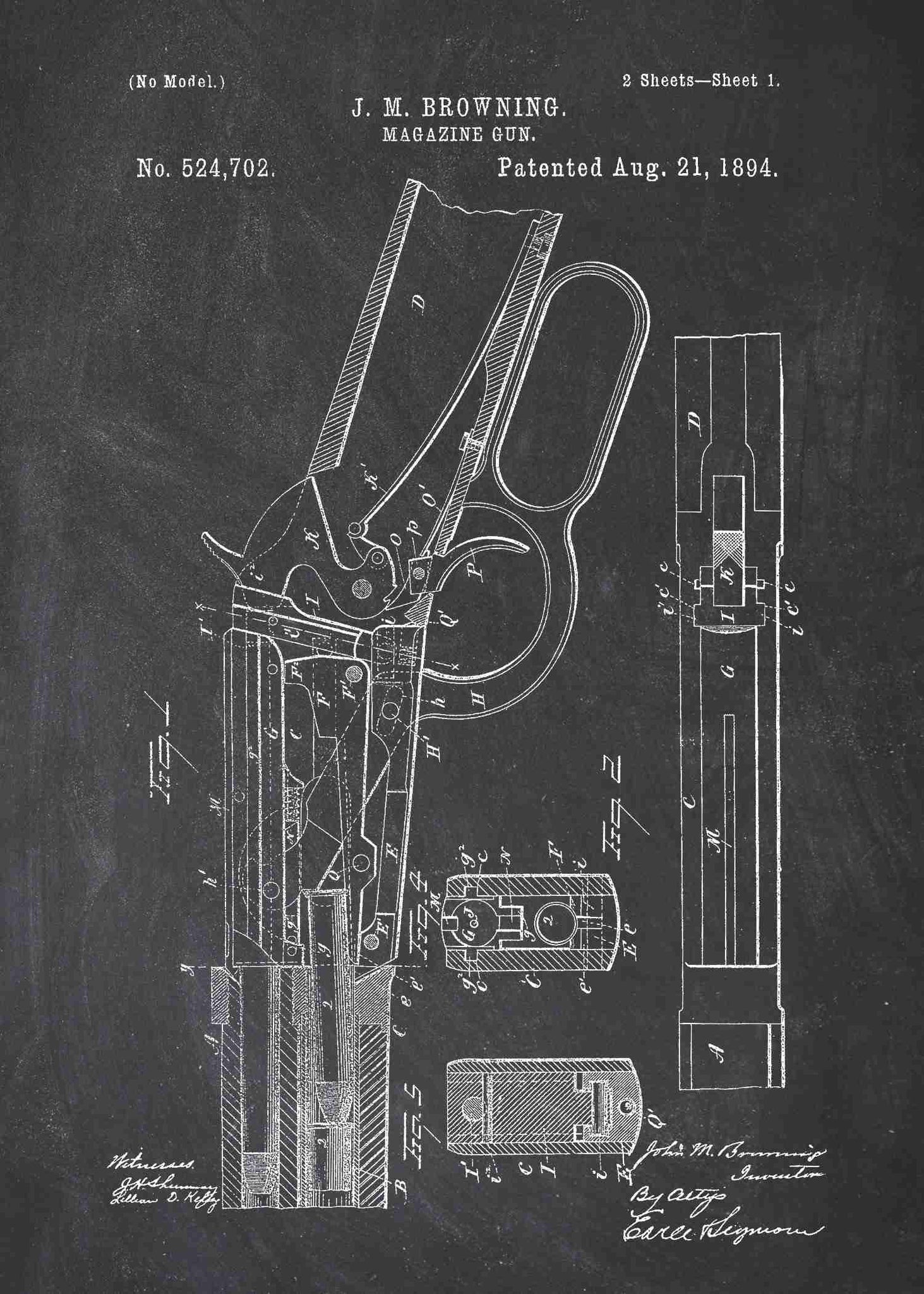 winchester 1894 patent print