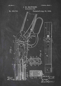 Winchester 1894 patent print, winchester 1894 poster in the style chalkboard