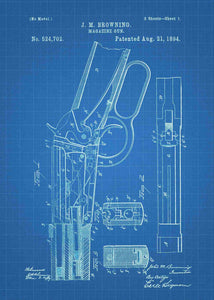 Winchester 1894 patent print, winchester 1894 poster in the style blueprint