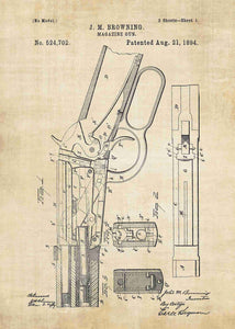Winchester 1894 patent print, winchester 1894 poster in the style vintage