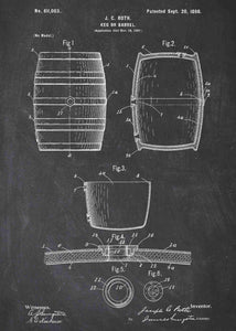 Wine barrel patent print, wine poster shown in the style chalkboard