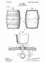 Wine barrel patent print, wine poster shown in the style white