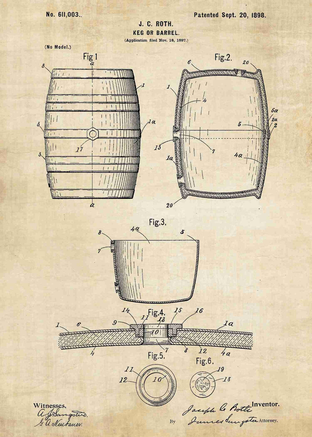 Wine barrel patent print, wine poster shown in the style vintage