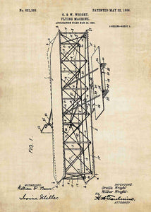 wright brothers plane patent print, wright brother plane poster in the style vintage