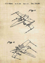 Original X Wing patent from the first trilogy of the star wars series. This star wars poster is in the style vintage