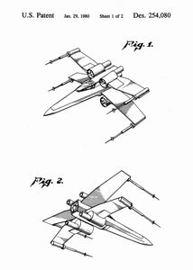 Original X Wing patent from the first trilogy of the star wars series. This star wars poster is in the style white