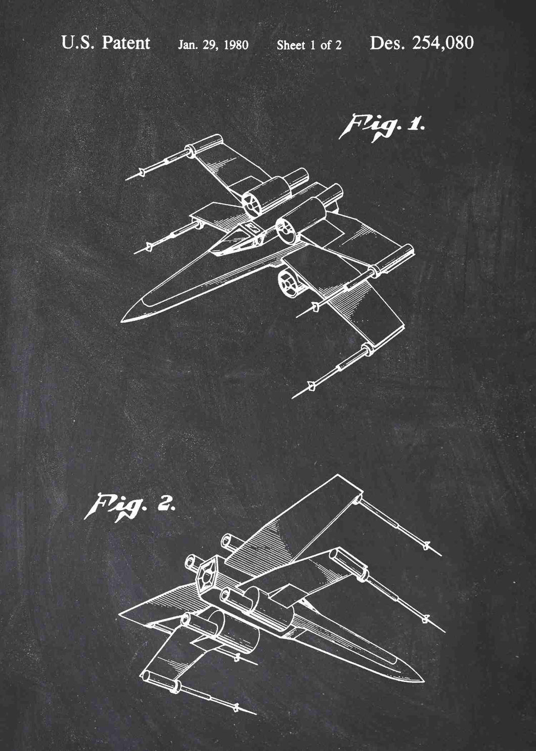 Original X Wing patent from the first trilogy of the star wars series. This star wars poster is in the style chalkboard