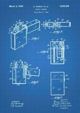 zippo lighter patent print, zippo wall art in the style blueprint